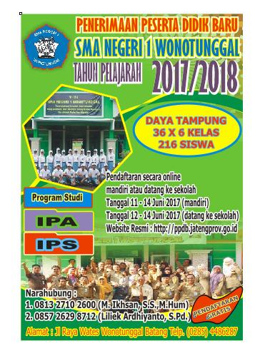 Penerimaan Peserta Didik Baru Tahun 2017/2018